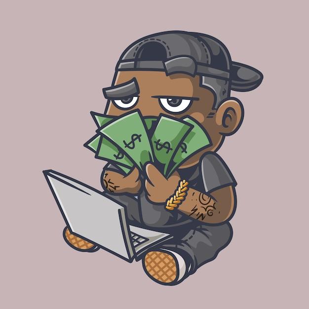 Badbaby rijke cartoon afbeelding Premium Vector