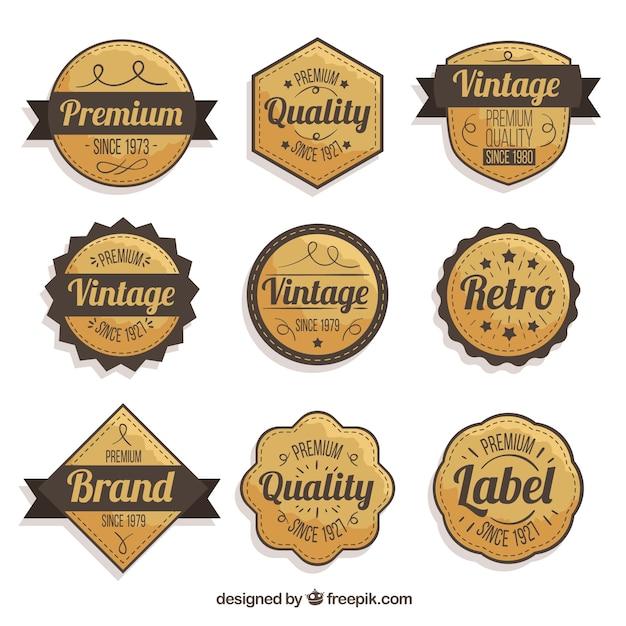 Badge collectie met vintage stijl Gratis Vector