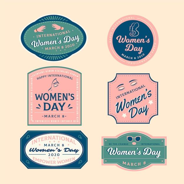 Badge concept voor vrouwendag Gratis Vector