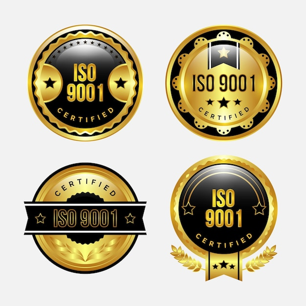 Badge-set met iso-certificering Gratis Vector