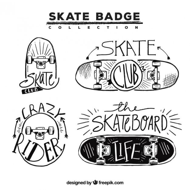 Badges met de hand getekende skateboards Gratis Vector