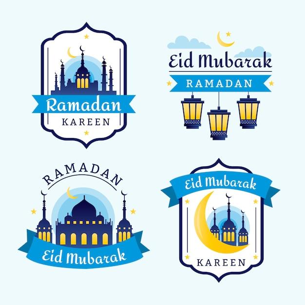 Badges met ramadan thema Gratis Vector
