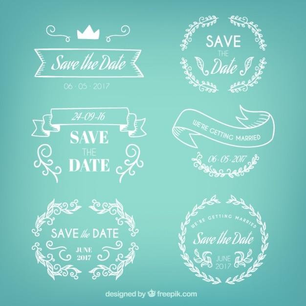Badges set van de hand getekende bruiloft Gratis Vector