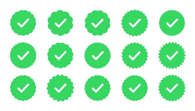 Badges van garantie, goedkeuring, accept en kwaliteit. vlak vinkje. profielverificatie teken. Premium Vector