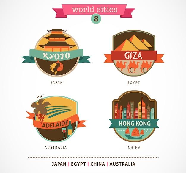 Badges van wereldsteden - kyoto, gizeh, adelaide, hong kong Premium Vector
