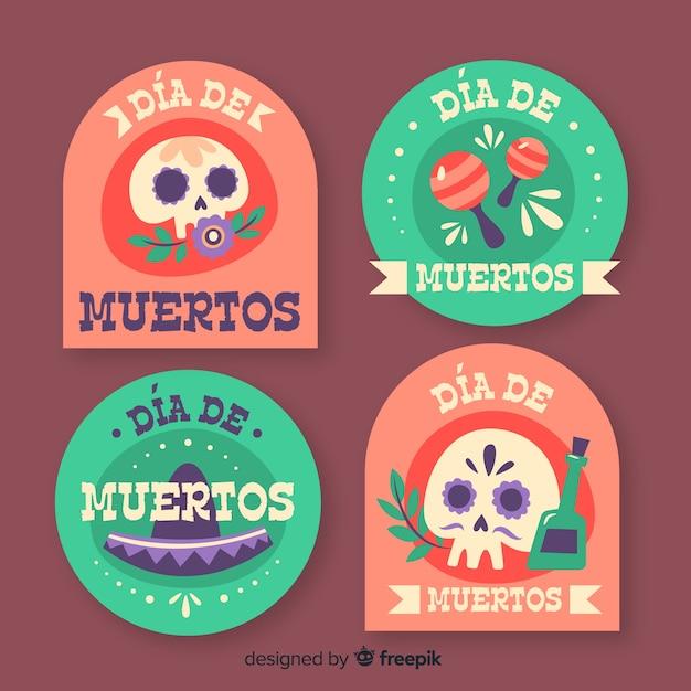 Badges voor dia de muertos-collectie Gratis Vector