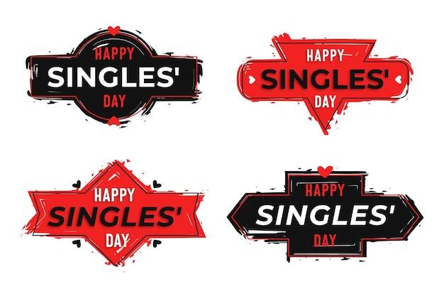 Badges voor singles Gratis Vector