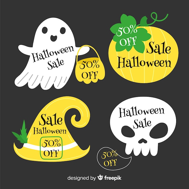 Badgeverzameling voor halloween-verkoop Gratis Vector
