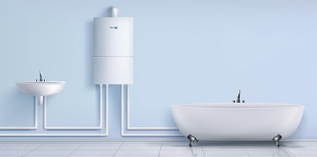 Badkamer, boiler, wastafel en bad Gratis Vector