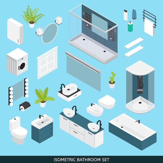 Badkamer gekleurde isometrische objecten met meubels en elementen die nodig zijn voor reparatie Gratis Vector