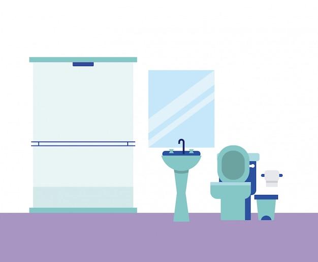 Badkamer huis spiegel douche papier Gratis Vector