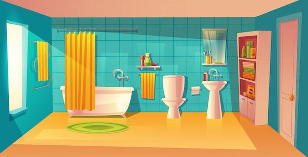 Badkamer interieur, kamer met meubels. witte badkuip met gordijn, kast met planken Gratis Vector