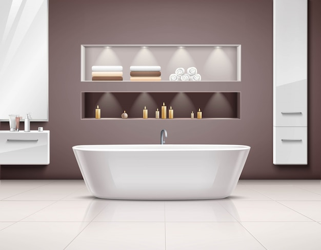 Badkamer Interieur Design : Badkamer interieur realistisch design vector gratis download
