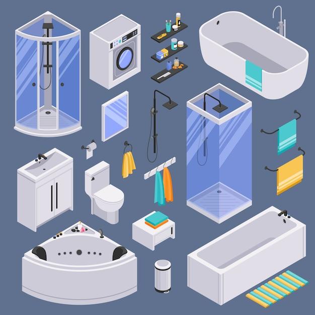 Badkamer isometrische set achtergrond Gratis Vector