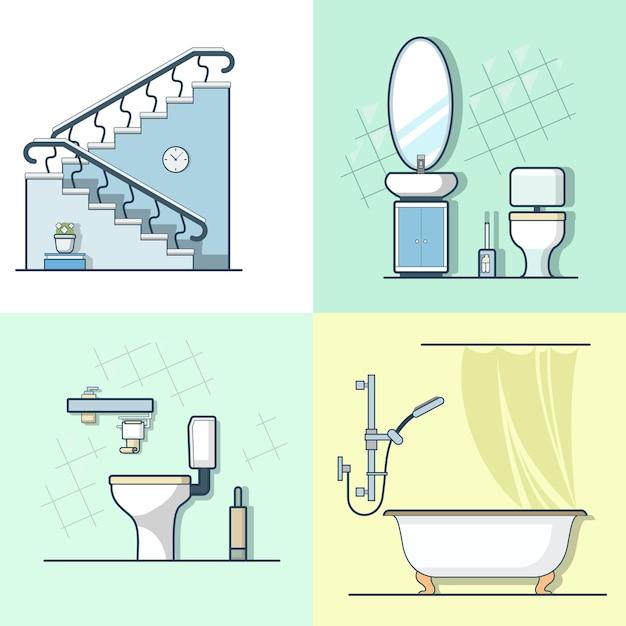 Badkamer toilet ladder interieur binnen element meubelset. lineaire lijn overzicht pictogrammen. Gratis Vector