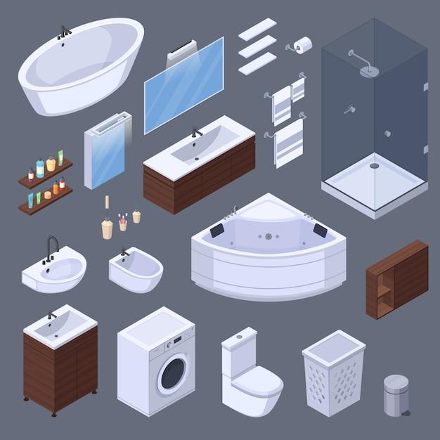 Badkamers isometrische binnenlandse elementen met meubels en toiletmateriaal geïsoleerde beelden op grijze vectorillustratie als achtergrond Gratis Vector
