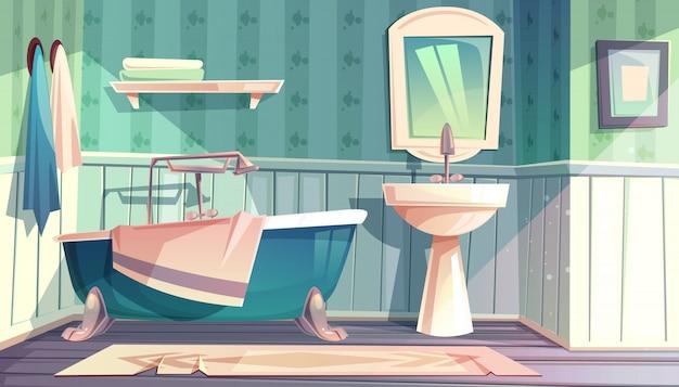 Badkamersbinnenland in uitstekende franse de stijlillustratie van de provence. Gratis Vector