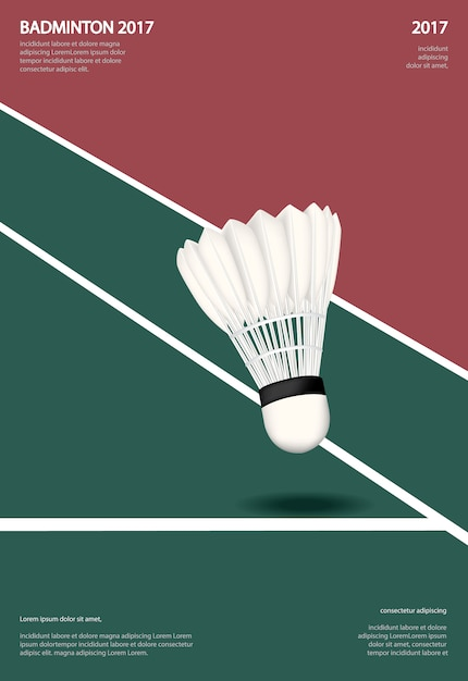 Badminton kampioenschap poster vectorillustratie Premium Vector