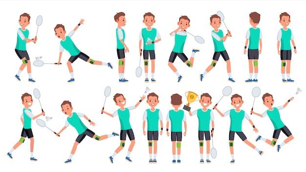 Badminton-speler mannelijke vector. zomer activiteit. kampioenschap training. geïsoleerde platte stripfiguur Premium Vector