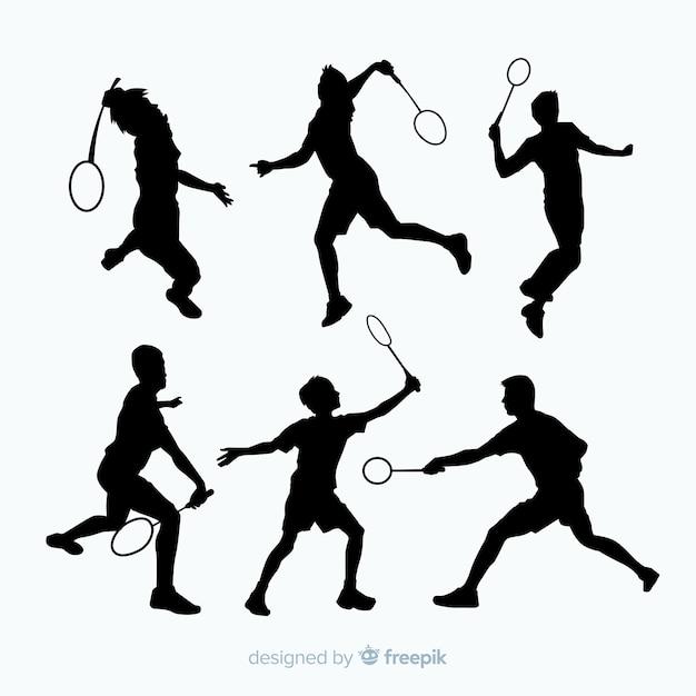 Badminton speler silhouet collectio Gratis Vector