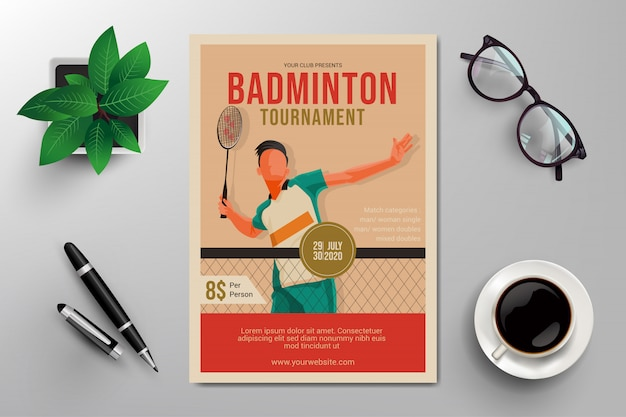 Badminton toernooi folder Premium Vector