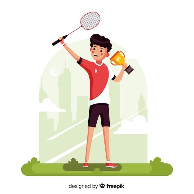 Badmintonspeler met racket en veren Gratis Vector
