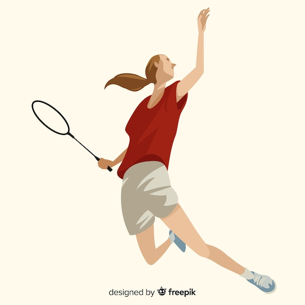 Badmintonspeler Gratis Vector