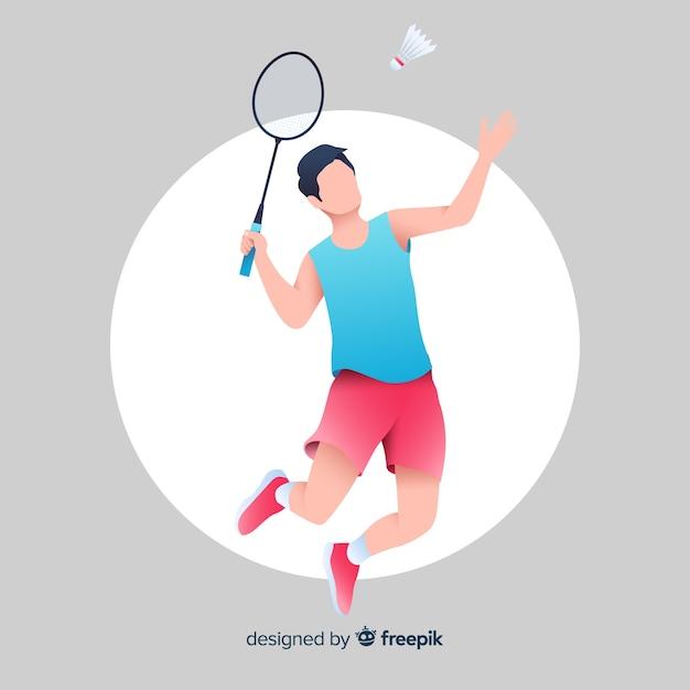 Badmintonspeler Premium Vector