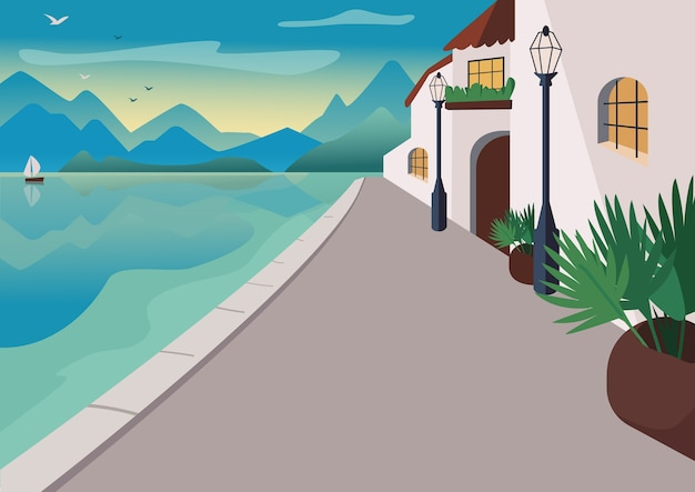 Badplaats dorp kleur illustratie. waterfront straat met gebouwen en tropische palmen in potten. strandboulevardbeeldverhaallandschap met bergen en oceaan bij zonsopgang op achtergrond Premium Vector