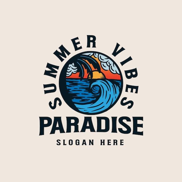 Badplaats vakantie lineart illustratie. lineart palmbomen op strand badge logo illustratie Premium Vector