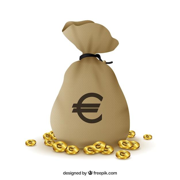 Bag achtergrond met euro symbool en munten Premium Vector