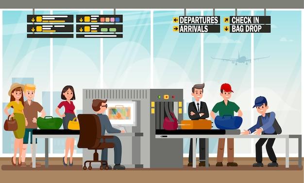 Bag drop-service in vlakke luchthavenillustratie. Premium Vector