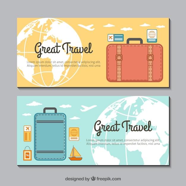 Bagage banners in plat ontwerp Gratis Vector