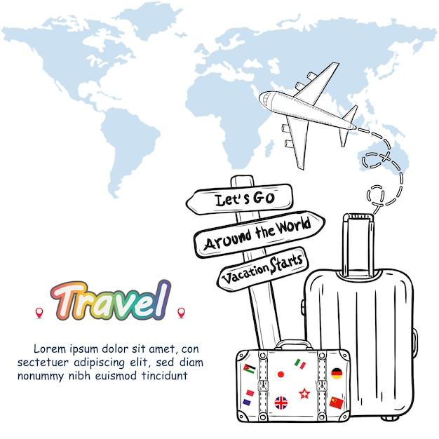 Bagage en doodle hand draw reizen rond de wereld concept zomer. Premium Vector