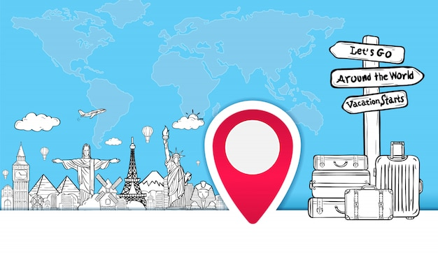 Bagage en doodle hand draw reizen rond de wereld zomer banner. Premium Vector