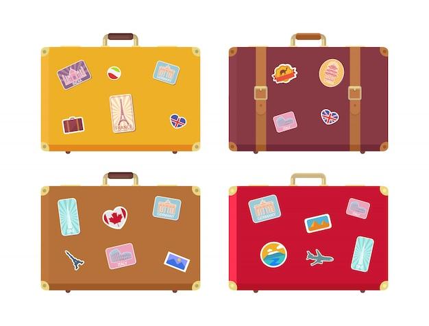 Bagage reistassen met stickers set Premium Vector