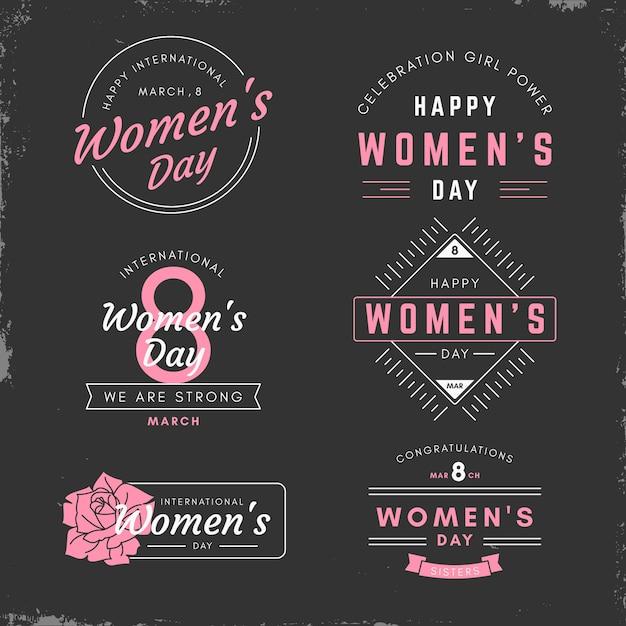 Bagde-collectie voor vrouwendag Gratis Vector