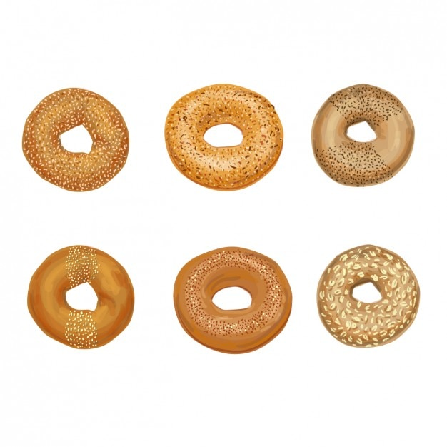 Baked bagels collection Gratis Vector