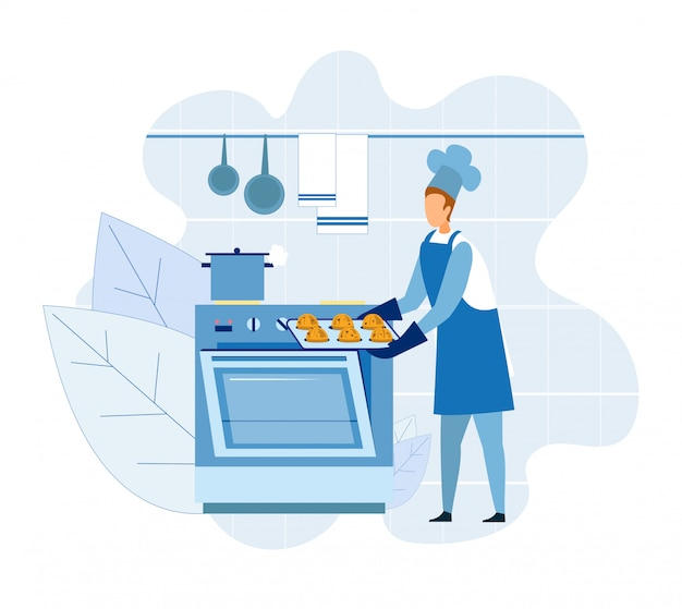 Baker master chef cooking cupcakes of muffins Premium Vector