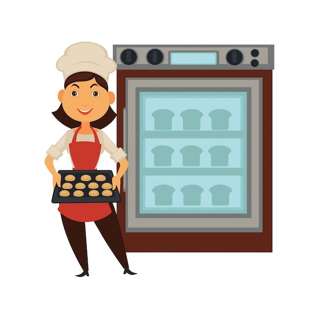 Baker vrouw in bakkerij winkel brood bakken in oven vector geïsoleerde baker beroep mensen pictogram Premium Vector