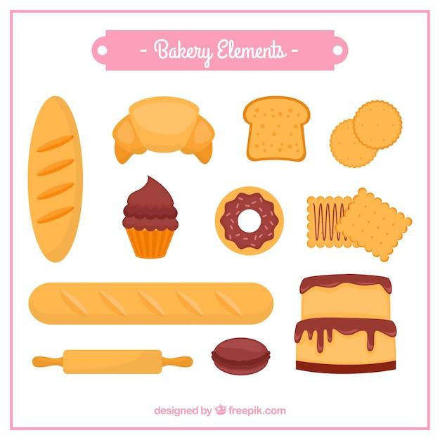 Bakery elementen collectie Gratis Vector