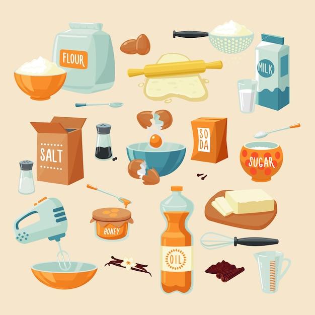 Bakken ingrediënten instellen Gratis Vector