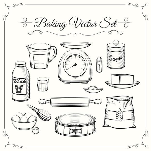 Bakken van voedselingrediënten en keukengerei in hand getrokken vectorstijl. voedsel koken gebak, zeef en schalen, bloem en suiker illustratie Gratis Vector