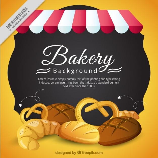 Bakkerij achtergrond met heerlijke producten Gratis Vector