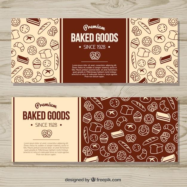 Bakkerij banners met snoep en brood in vlakke stijl Gratis Vector