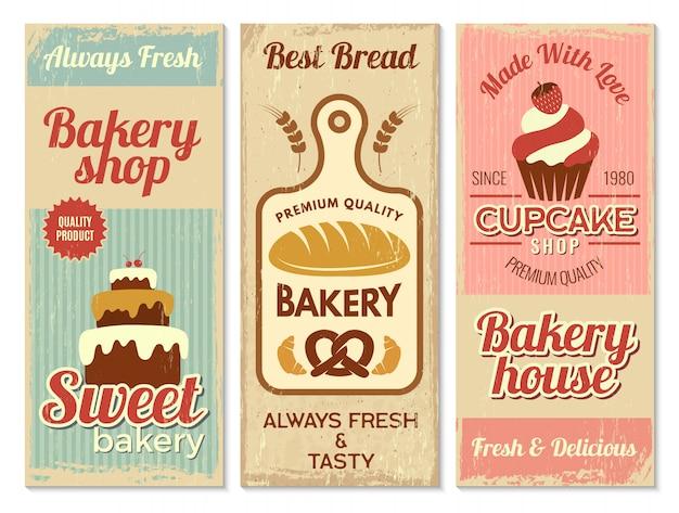 Bakkerij banners. zoet gebak keuken logo voor koken projecten restaurant menusjabloon Premium Vector