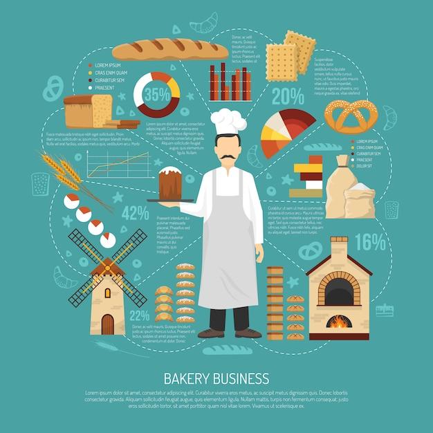 Bakkerij bedrijfs illustratie Gratis Vector