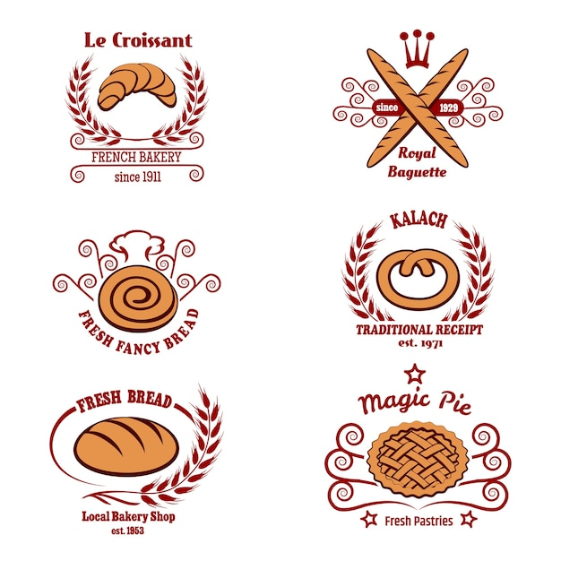Bakkerij brood logo set. Gratis Vector