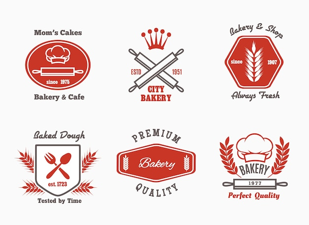 Bakkerij café bistro logo set. Gratis Vector