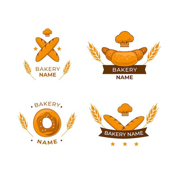 Bakkerij cake logo pack Gratis Vector